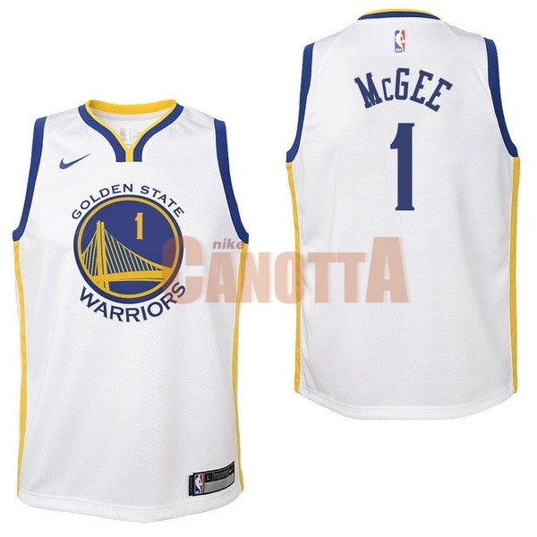 Replica Maglia NBA Bambino Golden State Warriors NO.1 JaVale McGee Bianco Association 2017-18