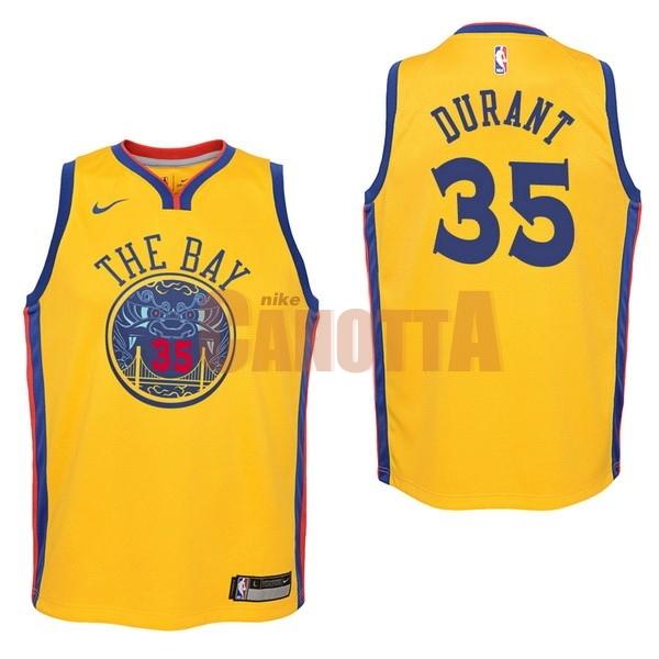Replica Maglia NBA Bambino Golden State Warriors NO.35 Kevin Durant Nike  Giallo Città 2017 50e8249b628a