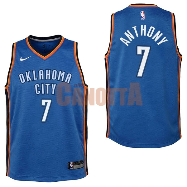 Replica Maglia NBA Bambino Oklahoma City Thunder NO.7 Carmelo Anthony Blu Icon 2017-18