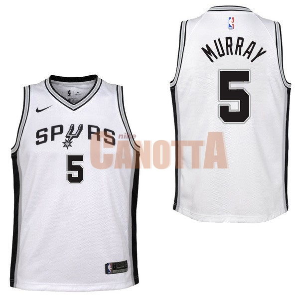 Replica Maglia NBA Bambino San Antonio Spurs NO.5 Dejounte Murray Bianco Association 2017-18