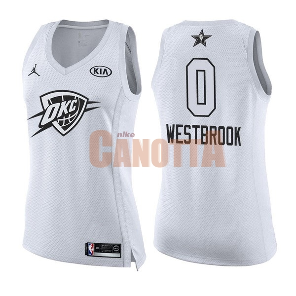 Replica Maglia NBA Donna 2018 All Star NO.0 Russell Westbrook Bianco