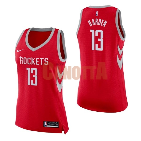 Replica Maglia NBA Donna Houston Rockets NO.13 James Harden Rosso Icon