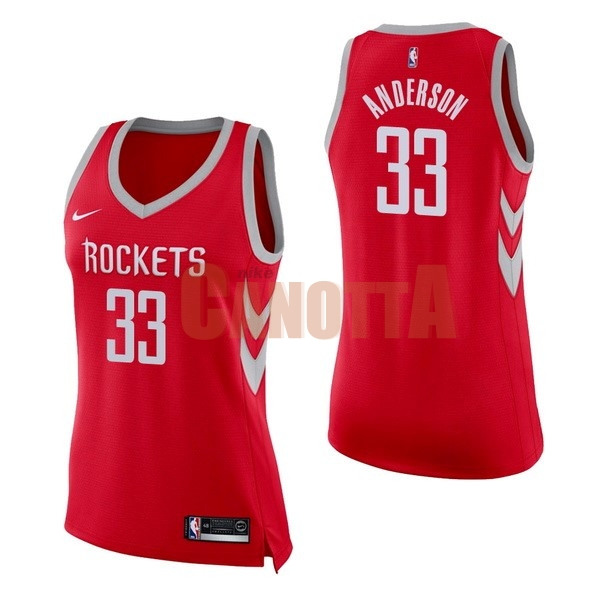 Replica Maglia NBA Donna Houston Rockets NO.33 Ryan Anderson Rosso Icon