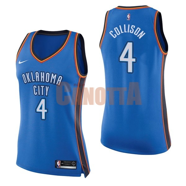 Replica Maglia NBA Donna Oklahoma City Thunder NO.4 Nick Collison Blu Icon
