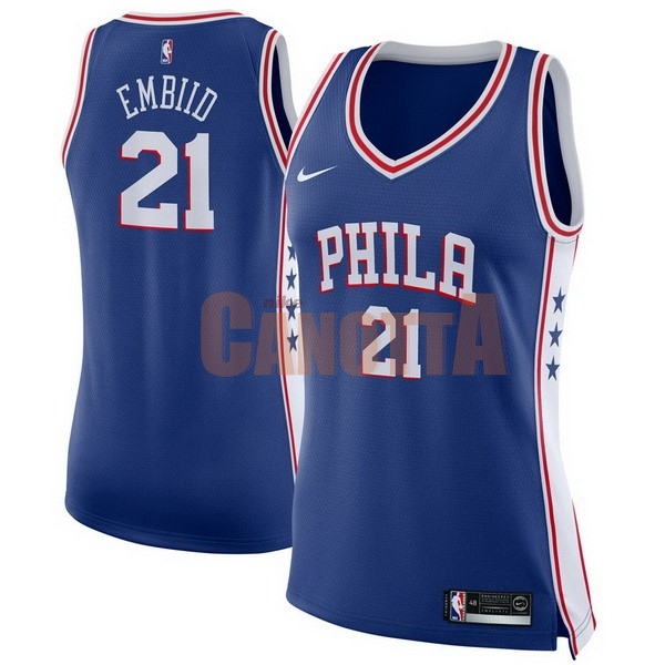 Replica Maglia NBA Donna Philadelphia Sixers NO.21 Joel Embiid Blu Icon