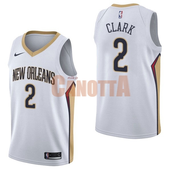 Replica Maglia NBA Nike New Orleans Pelicans NO.2 Ian Clark Bianco Association