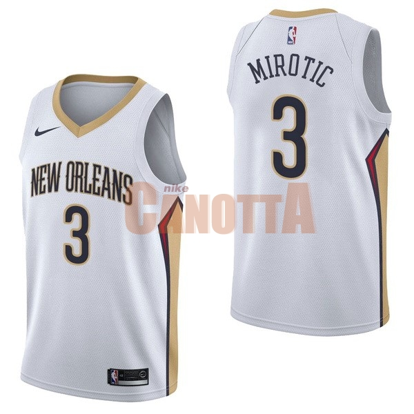 Replica Maglia NBA Nike New Orleans Pelicans NO.3 Nikola Mirotic Bianco Association