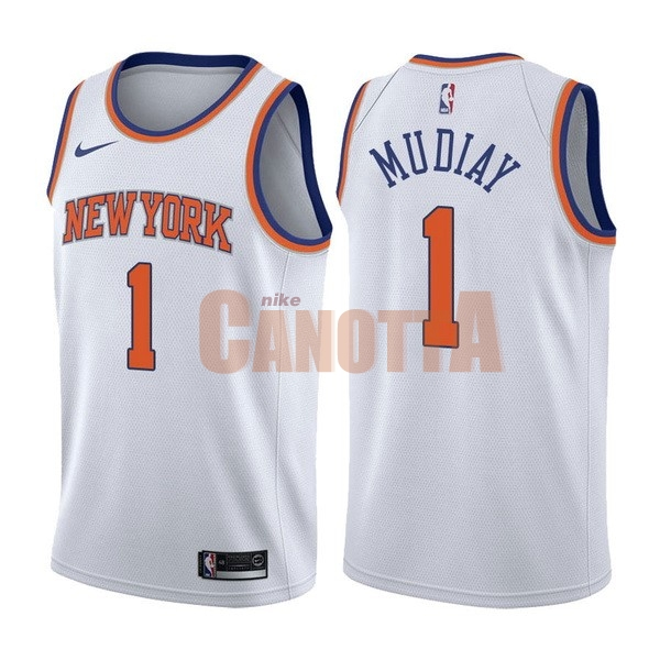 Replica Maglia NBA Nike New York Knicks NO.1 Emmanuel Mudiay Bianco Association