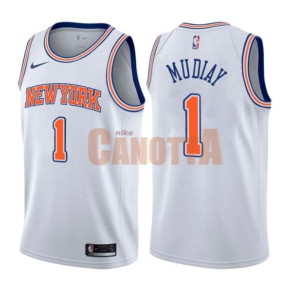 Replica Maglia NBA Nike New York Knicks NO.1 Emmanuel Mudiay Bianco Statement