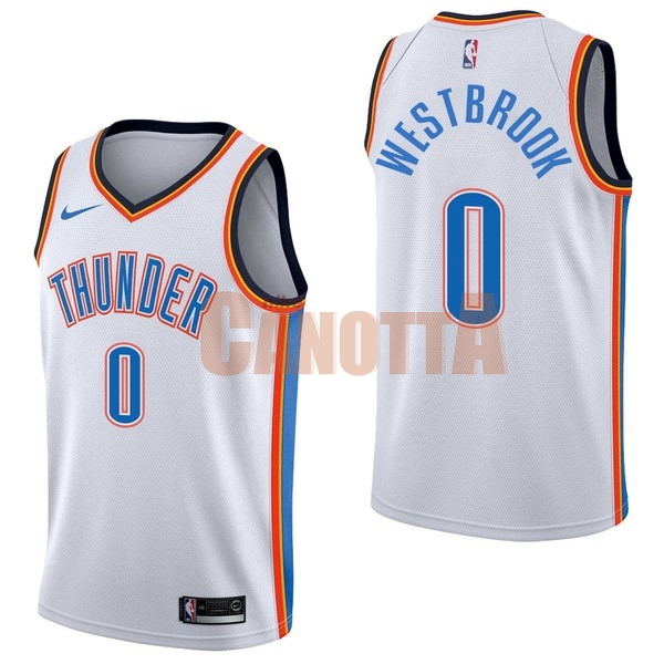 Replica Maglia NBA Nike Oklahoma City Thunder NO.0 Russell Westbrook Bianco Association