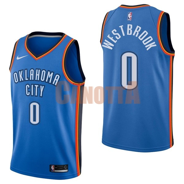 Replica Maglia NBA Nike Oklahoma City Thunder NO.0 Russell Westbrook Blu Icon