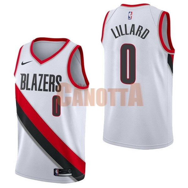 Replica Maglia NBA Nike Portland Trail Blazers NO.0 Damian Lillard Bianco Association