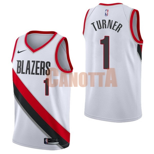 Replica Maglia NBA Nike Portland Trail Blazers NO.1 Evan Turner Bianco Association