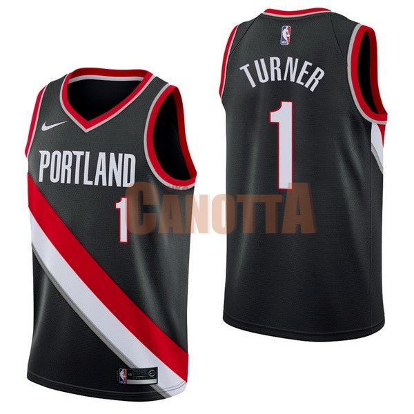 Replica Maglia NBA Nike Portland Trail Blazers NO.1 Evan Turner Nero Icon
