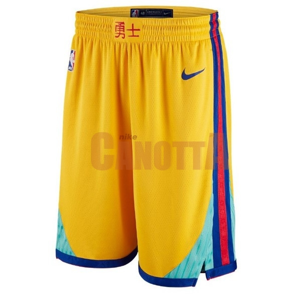 Replica Pantaloni Basket Golden State Warriors Giallo Città