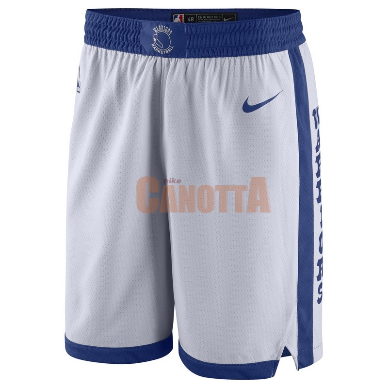 Replica Pantaloni Basket Golden State Warriors Nike Retro Bianco