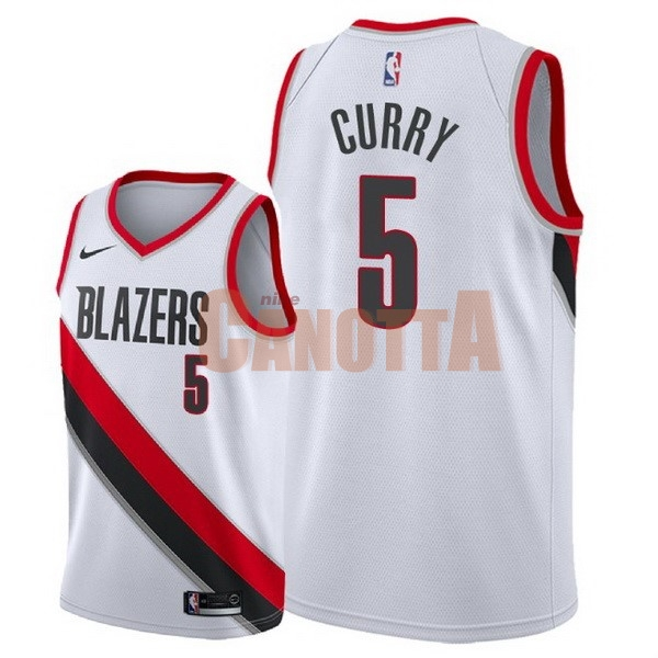 Replica Maglia NBA Nike Portland Trail Blazers NO.5 Seth Curry Bianco Association 2018