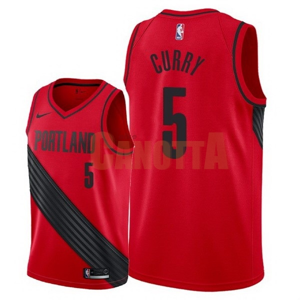 Replica Maglia NBA Nike Portland Trail Blazers NO.5 Seth Curry Rosso Statement 2018