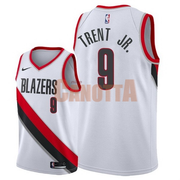Replica Maglia NBA Nike Portland Trail Blazers NO.9 Gary Trent Jr Bianco Association 2018