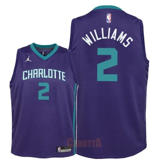 Replica Maglia NBA Bambino Charlotte Hornets NO.2 Marvin Williams Porpora Statement 2018