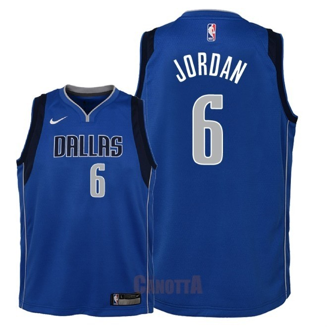 Replica Maglia NBA Bambino Dallas Mavericks NO.6 DeAndre Jordan Blu Icon 2018