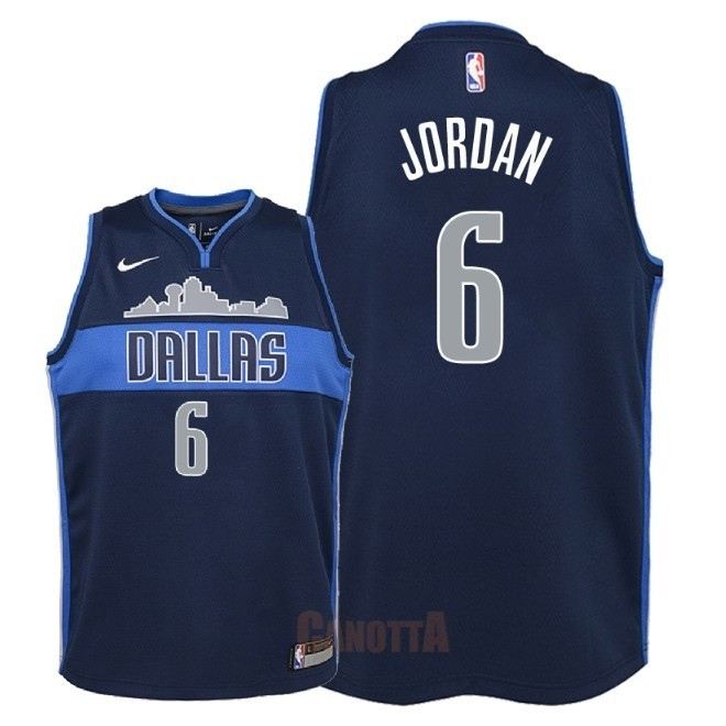 Replica Maglia NBA Bambino Dallas Mavericks NO.6 DeAndre Jordan Nero Statement 2018