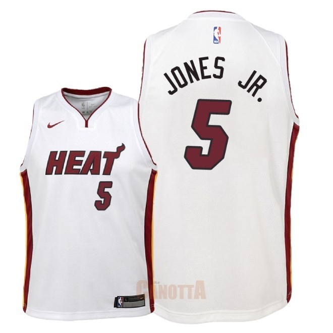 Replica Maglia NBA Bambino Miami Heat NO.5 Derrick Jones Jr Bianco Association 2018