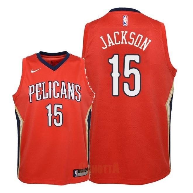 Replica Maglia NBA Bambino New Orleans Pelicans NO.15 Frank Jackson Rosso  Statement 2018 5e0926ebc5c0