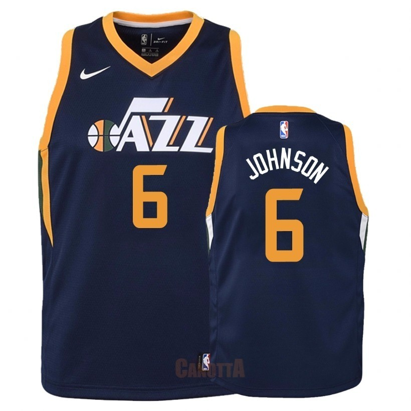 Replica Maglia NBA Bambino Utah Jazz NO.6 Joe Johnson Marino Icon 2018
