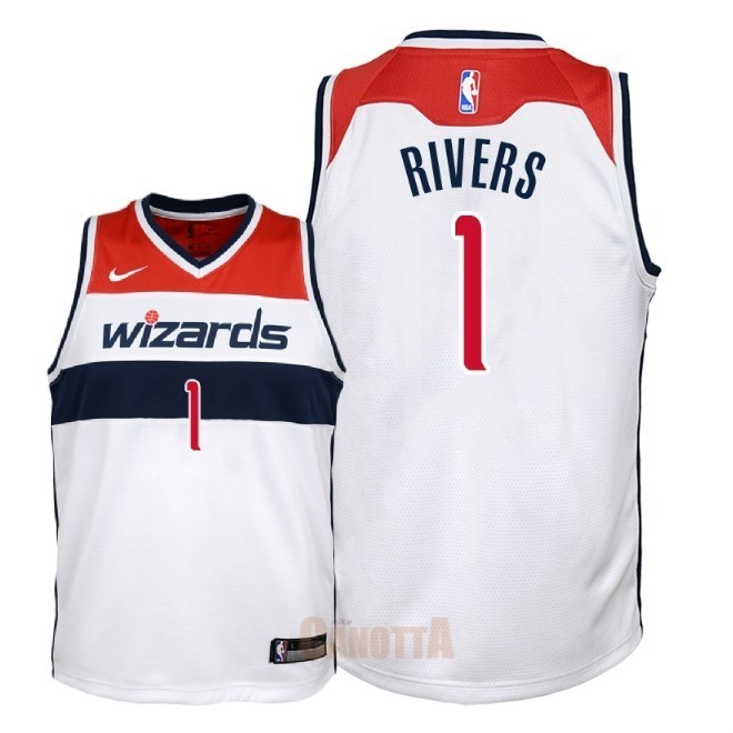 Replica Maglia NBA Bambino Washington Wizards NO.1 Austin Rivers Bianco Association 2018