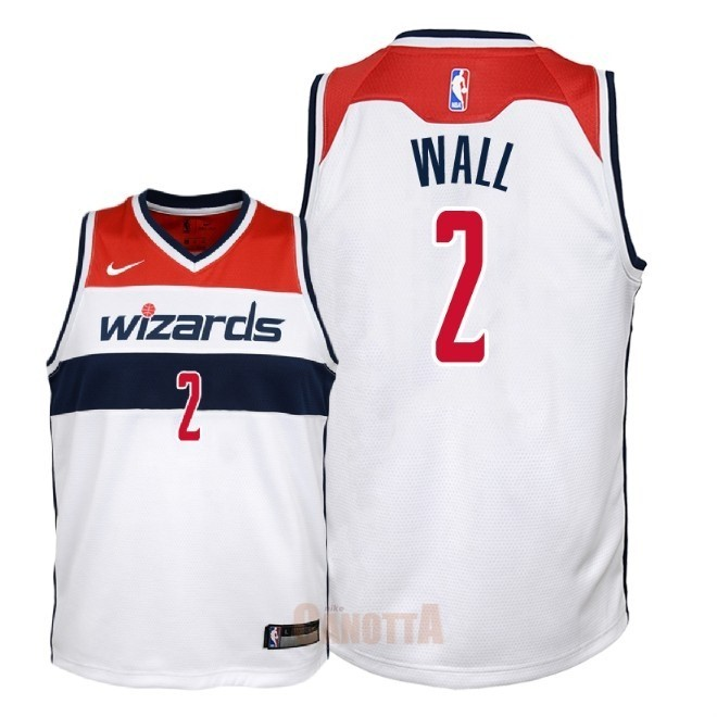 Replica Maglia NBA Bambino Washington Wizards NO.2 John Wall Bianco Association 2018