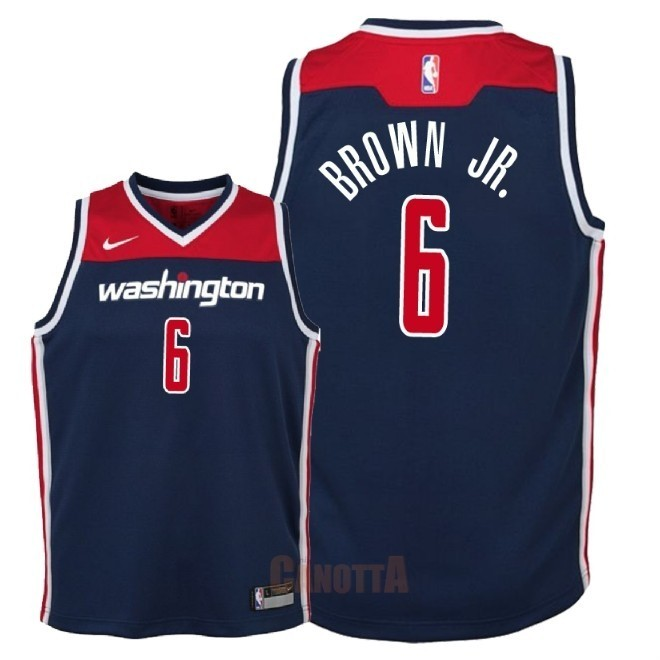 Replica Maglia NBA Bambino Washington Wizards NO.6 Troy Brown Jr Marino Statement 2018