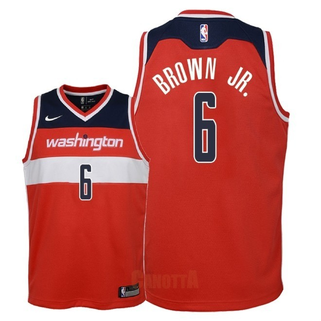 Replica Maglia NBA Bambino Washington Wizards NO.6 Troy Brown Jr Rosso Icon 2018