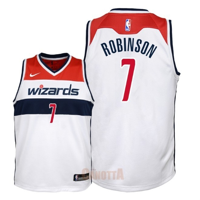 Replica Maglia NBA Bambino Washington Wizards NO.7 Devin Robinson Bianco Association 2018