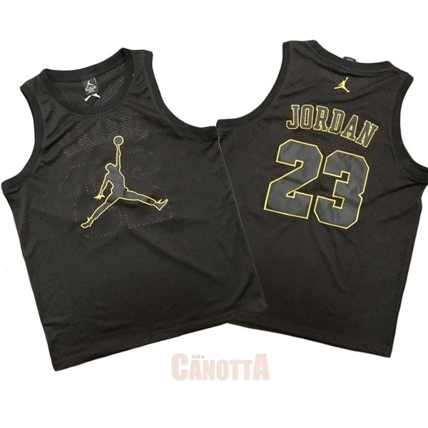 Replica Maglia NBA Chicago Bulls NO.23 Michael Jordan Jordan Logo Nero