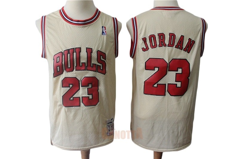 Replica Maglia NBA Chicago Bulls NO.23 Michael Jordan Retro Crema
