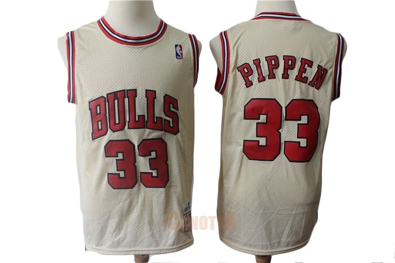 Replica Maglia NBA Chicago Bulls NO.33 Scottie Pippen Retro Crema