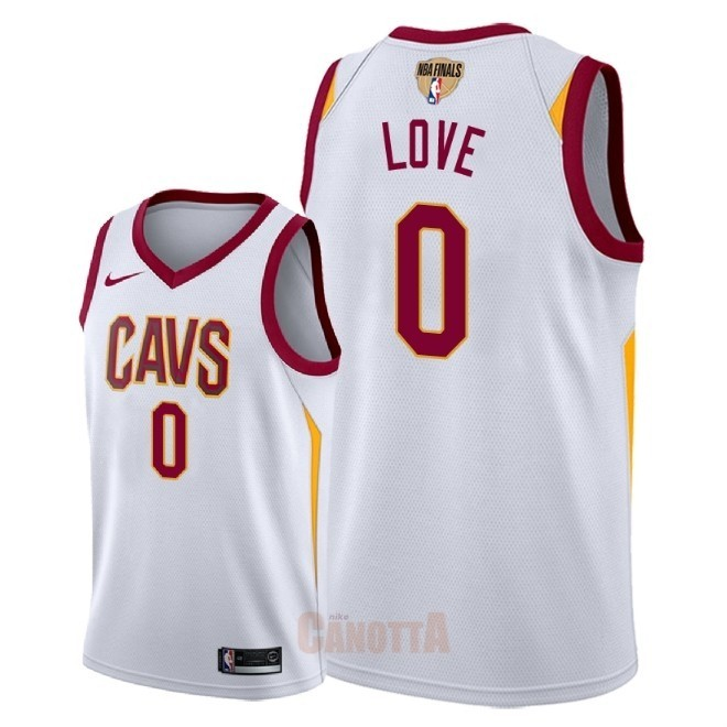 Replica Maglia NBA Cleveland Cavaliers 2018 Campionato Finali NO.0 Kevin Love Bianco Association Patch