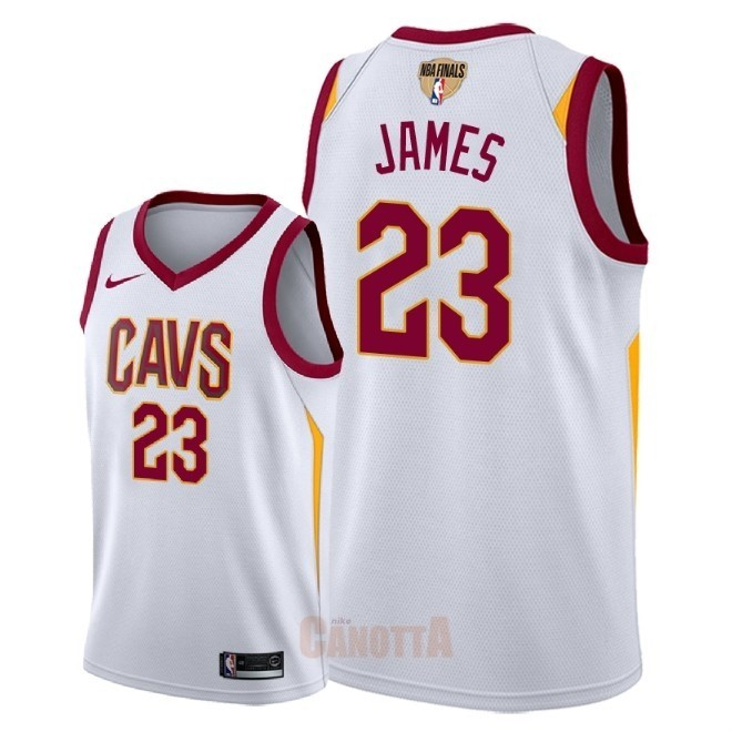 Replica Maglia NBA Cleveland Cavaliers 2018 Campionato Finali NO.23 LeBron James Bianco Association Patch