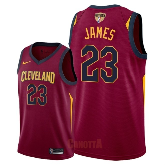 Replica Maglia NBA Cleveland Cavaliers 2018 Campionato Finali NO.23 LeBron James Rosso Icon Patch