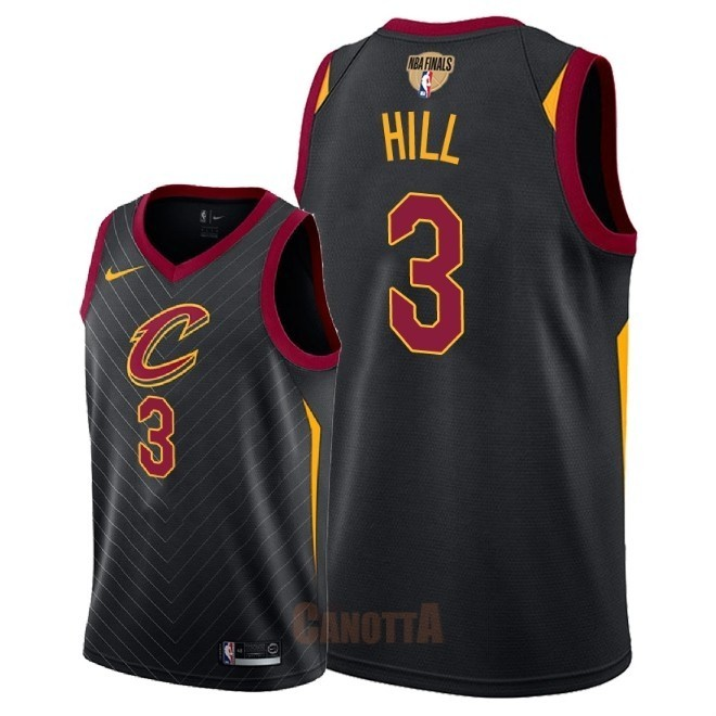 Replica Maglia NBA Cleveland Cavaliers 2018 Campionato Finali NO.3 George Hill Nero Statement Patch