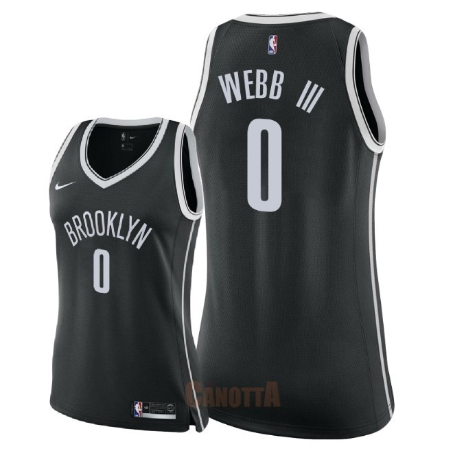 Replica Maglia NBA Donna Brooklyn Nets NO.0 James Webb III Nero Icon 2018