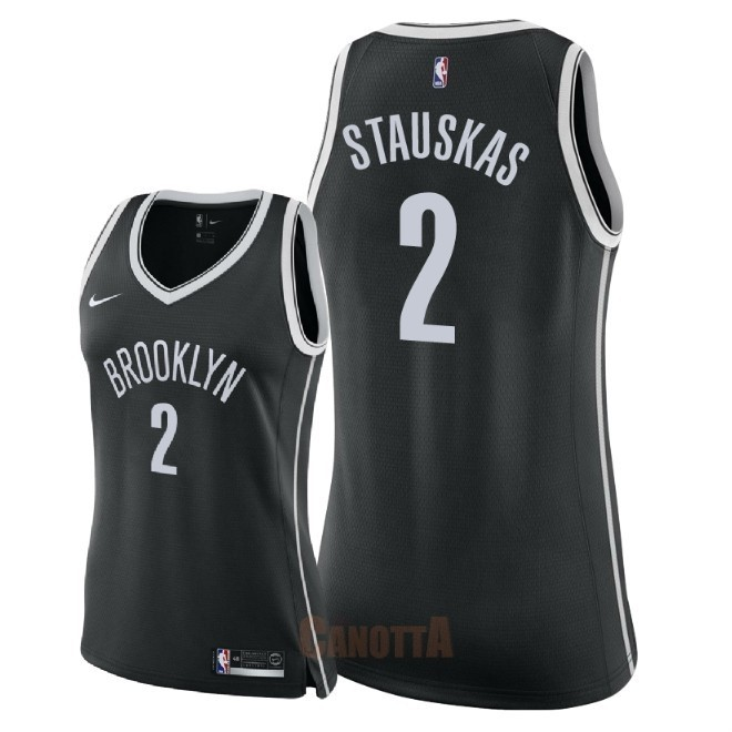 Replica Maglia NBA Donna Brooklyn Nets NO.2 Nik Stauskas Nero Icon 2018