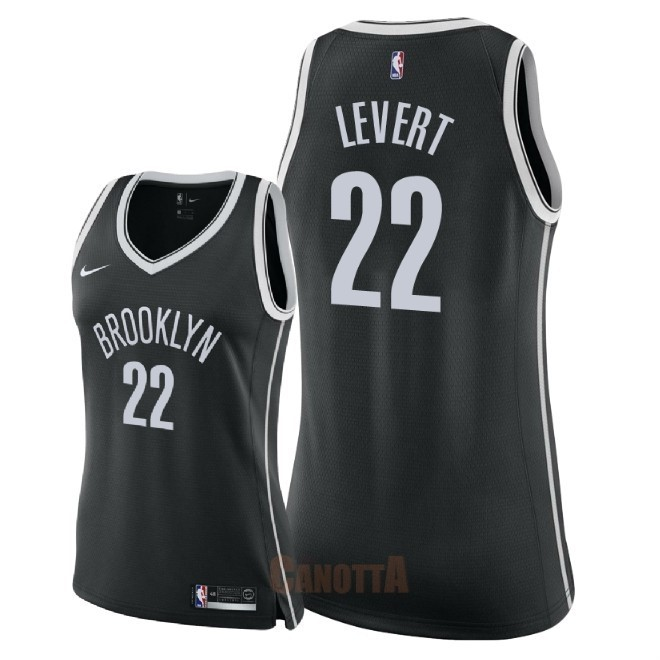 Replica Maglia NBA Donna Brooklyn Nets NO.22 Caris LeVert Nero Icon 2018