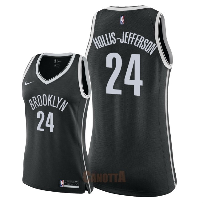 Replica Maglia NBA Donna Brooklyn Nets NO.24 Rondae Hollis Jefferson Nero Icon 2018