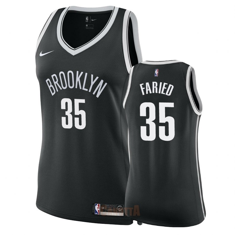 Replica Maglia NBA Donna Brooklyn Nets NO.35 Kenneth Faried Nero Icon 2018