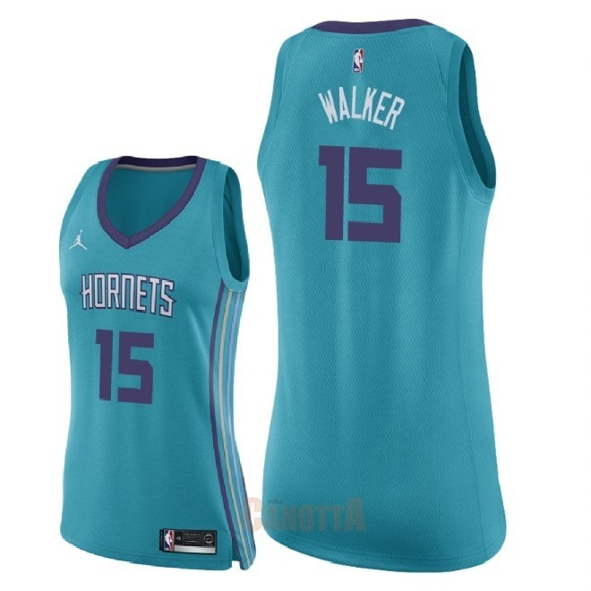 Replica Maglia NBA Donna Charlotte Hornets NO.15 Kemba Walker Verde Icon 2018