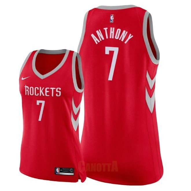 Replica Maglia NBA Donna Houston Rockets NO.7 Carmelo Anthony Rosso Icon 2018