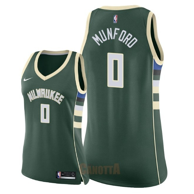 Replica Maglia NBA Donna Milwaukee Bucks NO.0 Xavier Munford Verde Icon 2018