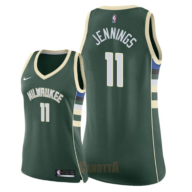 Replica Maglia NBA Donna Milwaukee Bucks NO.11 Brandon Jennings Verde Icon 2018